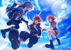 Riku, Sora & Kairi from Kingdom Hearts. Kingdom Hearts Games, Kingdom Hearts Fanart, Kairi Kingdom Hearts, Sora And Kairi, Saga, Kh 3, Kindom Hearts, Vanitas, Manga Games