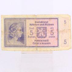 Bankovka 5 korun Protektorát Čechy a Morava Vintage World Maps