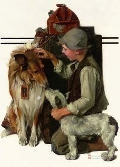 """Boy with Two Dogs (Raleigh Rockwell Travels)"" - September Saturday Evening Post cover by Norman Rockwell Norman Rockwell Prints, Norman Rockwell Paintings, The Saturdays, Rough Collie, Two Dogs, Jack Russell Terrier, Dog Art, Retro, American Artists"