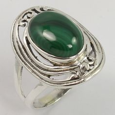 Women's Fashion Ring Size US 9 Natural MALACHITE Gemstone 925 Sterling Silver #Unbranded