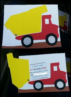 Party Invitation idea. Construction Party invitation. Boy birthday dump truck. #construction #birthdayparty #rokenbok #toys