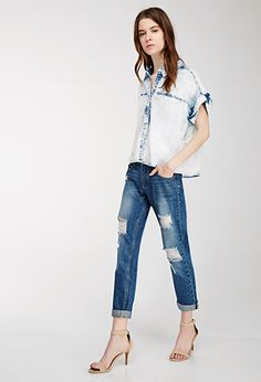Distressed Whisker Wash Jeans | Love21 - 2000055550