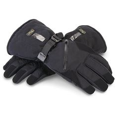 The Best Heated Gloves - Hammacher Schlemmer.  Rechargeable batteries lasted for 12 hours on high and the heat dispersed across the front, back and all fingers.