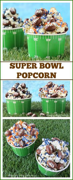Add your favorite team's colors to white chocolate popcorn and toss in some chocolate almond footballs festive Super Bowl snack. See how at HungryHappenings.com.