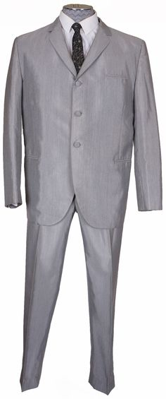 Vintage Mens Suit British Invasion Sharkskin Silver Gray Size M / L 1960s Fashion Mens, Vintage Fashion, Ross Store, British Invasion, Costume Design, Mens Suits, Vintage Men, Suit Jacket, Menswear