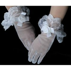 Cute White Tulle Lace Below the Elbow Wedding Bridal Dress Gloves SKU-11201094