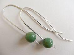 Green gemstone earwires