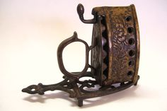 Antique Miniature Brass Coal Iron Ornate with Flowers Plus Cast Iron Trivet Salesmans Sample by okanaganvintage on Etsy