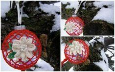 Make your Christmas tree standout with an elegant Roses in the Snow Ornament. This handmade holiday crochet idea puts a creative spin on your average circular ornament. Have fun with different color combinations! Snow Ornaments, Crochet Christmas Ornaments, Holiday Crochet, Christmas Wreaths, Christmas Decorations, Ornament Crafts, Crochet Ornament Patterns, Crochet Flower Patterns, Crochet Flowers