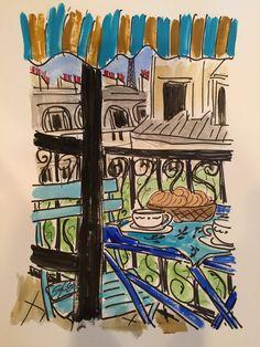 Paris Breakfast Balcony Blue by fififlowers on Etsy