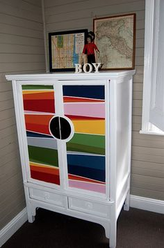 DIY - Fabric covered wardrobe-use for old china cabinet