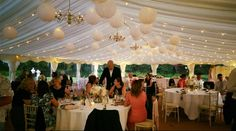 Shot by Charlie at Ardington House - festoons and paper lanterns! #marqueewedding #ardingtonhouse