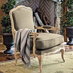 Another Ballard Designs chair - Louisa Bergere Chair (can't change fabric though) Bergere Chair, Settee, Upholstered Arm Chair, Painted Chairs, Vintage Chairs, Online Furniture, Furniture Ideas, Chair Fabric, Ballard Designs