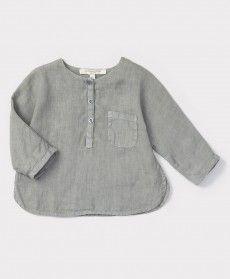 Caraway Baby Shirt, Misty Blue, 3m