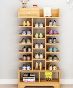 47 Unique Diy Shoe Rack Ideas To Keep Your Shoes. The over door shoe rack is the most spacious solution for efficient shoe storage. Shoe Storage Furniture, Shoe Storage Design, Diy Shoe Storage, Rack Design, Bedroom Storage, Diy Furniture, Storage Ideas, Diy Bedroom, Wooden Bedroom