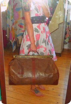 Vintage Denise Leder Tasche Weekender Reisetasche Sporttasche XL Bag Braun Kroko | eBay
