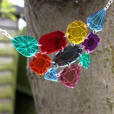 Gemstone necklace laser cut mirror acrylic by sugarandvicedesigns