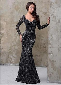 Stunning Lace V-neck Neckline Mermaid Evening Dresses With Beaded Lace Appliques