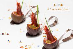 Gambero rosso marinato al passion fruit Tapas, Carpaccio, Weird Food, Exotic Food, Slow Food, Aesthetic Food, Food Presentation, Food Design, Food Art