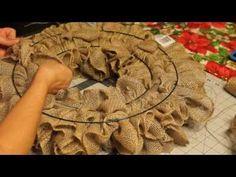 Ruffle Burlap Wreath/ Pull Through Burlap Wreath 1 - YouTube