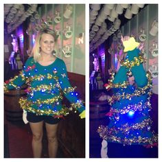 EXTRA creative Ugly Christmas Sweater - awesome! Put your arms up to become an Xmas Tree. Use these little LED lights to clip on, hot glue or sew into your sweater: http://www.flashingblinkylights.com/light-up-products/light-up-flashing-pins-body-lights/blinkies-round-leds.html