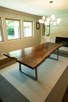 Live Edge Walnut Dining Table Steel Trapezoid Legs by MezWorks