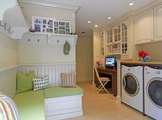 love the multipurpose style room...mudroom, laundry and office space