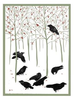 Ravens in Winter Notecards (Woodcut Christmas Cards)  Published September 2005 by Kenspeckle Letterpress .