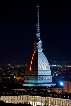 Mole Antonelliana,Turin, Piemonte, Italy. The Mole Antonelliana is a major landmark building in Turin, Italy. It is named for the architect who built it, Alessandro Antonelli. A mole is a building of monumental proportions. (V)
