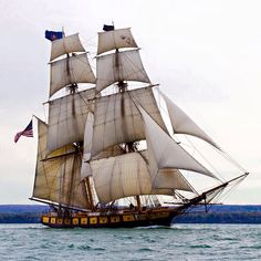 """""""We Have Met the Enemy and They Are Ours . Brig Niagara, home-ported in Erie, Pennsylvania, is a replica of the relief flagship of Commodore Oliver Hazard Perry. She is the embodimen… Tall Ships Festival, Moby Dick, Old Sailing Ships, Bay City, Sail Away, Lake Erie, Wisconsin, Sailor, Sailboats"""