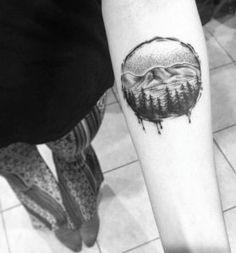 Circular Landscape Tattoo Design on Forearm by Florida Velvet