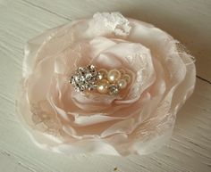 Bridal Fascinator Hair Clip in Ivory with lace by kathyjohnson3, $34.00
