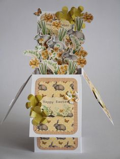 Easter Exploding Box Card made by Phillipa Lewis using Craftwork Cards Meadow Kit.