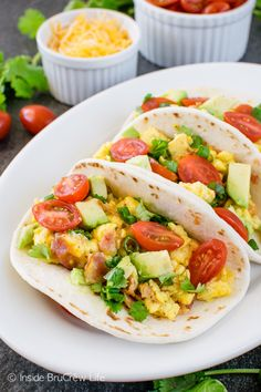 These easy Bacon Egg Breakfast Tacos are a delicious and healthy way to start out the morning. Save time by making the eggs the day before and keeping them in containers in the refrigerator for quick and easy breakfasts. #MyRecipeMagic #breakfast #bacon #egg #tacos