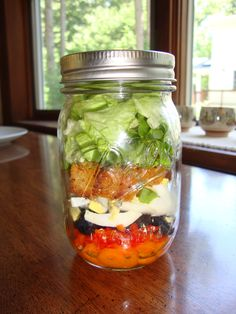 Rainbow salad in a mason jar.
