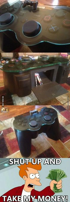 Dream coffee table for a gamer – Playstation – Ideas of Playstation – – Game Room İdeas 2020 Computer Gaming Room, Gaming Setup, Gaming Rooms, Deco Lego, Deco Gamer, Game Room Design, Gamer Room, Home Budget, Take My Money