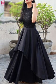 Black Padded Double Flair Embroidered DressYou can find Western dresses and more on our website. Gown Party Wear, Party Wear Indian Dresses, Indian Gowns Dresses, Indian Fashion Dresses, Dress Indian Style, Indian Designer Outfits, Designer Dresses, Black Indian Gown, Party Wear Frocks