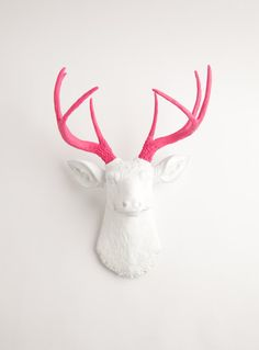 Faux Taxidermy - White W/ Pink Antlers Resin Deer Head