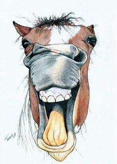Horsie by Adniv on DeviantArt Horse Drawings, Animal Drawings, Cute Drawings, Horse Cartoon Drawing, Animal Sketches, Art Sketches, Horse Sketch, Horse Artwork, Cartoon Kunst