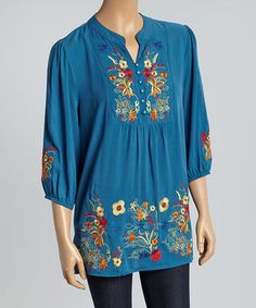 Look what I found on #zulily! Blue Garden Embroidered Button-Front Tunic #zulilyfinds