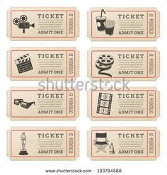 Eight hi quality vector cinema tickets. Each ticket is organized in 3 layers, separating background from art and text.