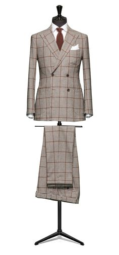 Brown-brown suit Pied de poule orange windowpane S100 http://www.tailormadelondon.com/shop/tailored-suit-fabric-4355-houndstooth-brown/