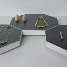Jewelry presentation on hexagon shape jewelry display . Because nice presentation is important . More on my Etsy shop @ wooddesigndforyou .