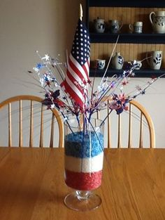 Easy to do Fourth of July Centerpiece! Add pebbles/rocks/candy of red,white, and blue colors and stick a few festive sticks in the middle with a flag. :)