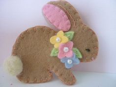 Felt Bunny Brooch Spring Beaded Flowers Felted Wool