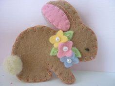 Felt Bunny Brooch Spring Beaded Flowers Felted Wool
