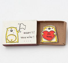 Funny Love Card I'm Yours Matchbox/ Gift box / Message by (Diy Crafts Love) Funny Love Cards, Cute Cards, Diy Cards, Engagement Gift Boxes, Engagement Cards, Matchbox Crafts, Matchbox Art, Love Confessions, Cute Messages