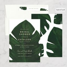 """""""Palm"""" - Customizable Bridal Shower Invitations in Green or White by Kaydi Bishop. Cabo San Lucas, You Are Invited, Bridal Shower Invitations, Say Hello, Palm, Green, Cards, Classic, Derby"""