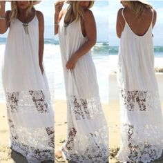 Last One Lace Beach Boho Maxi White Lace Beach Maxi!  Material : cotton, lace, polyester . Dresses