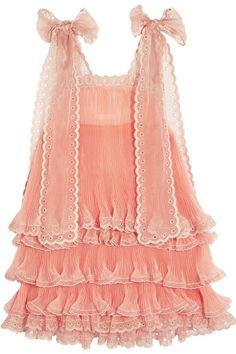 Chloé - Tiered Plissé Silk-organza Mini Dress - Peach - FR38